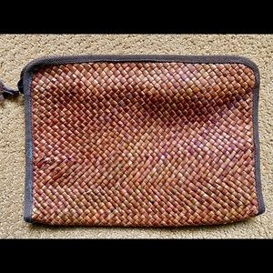 Vintage Brown Wicker Clutch Bag Made in Italy